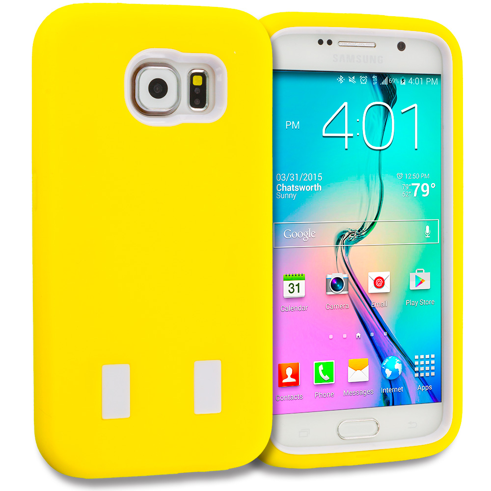 Samsung Galaxy S6 Yellow / White Hybrid Deluxe Hard/Soft Case Cover