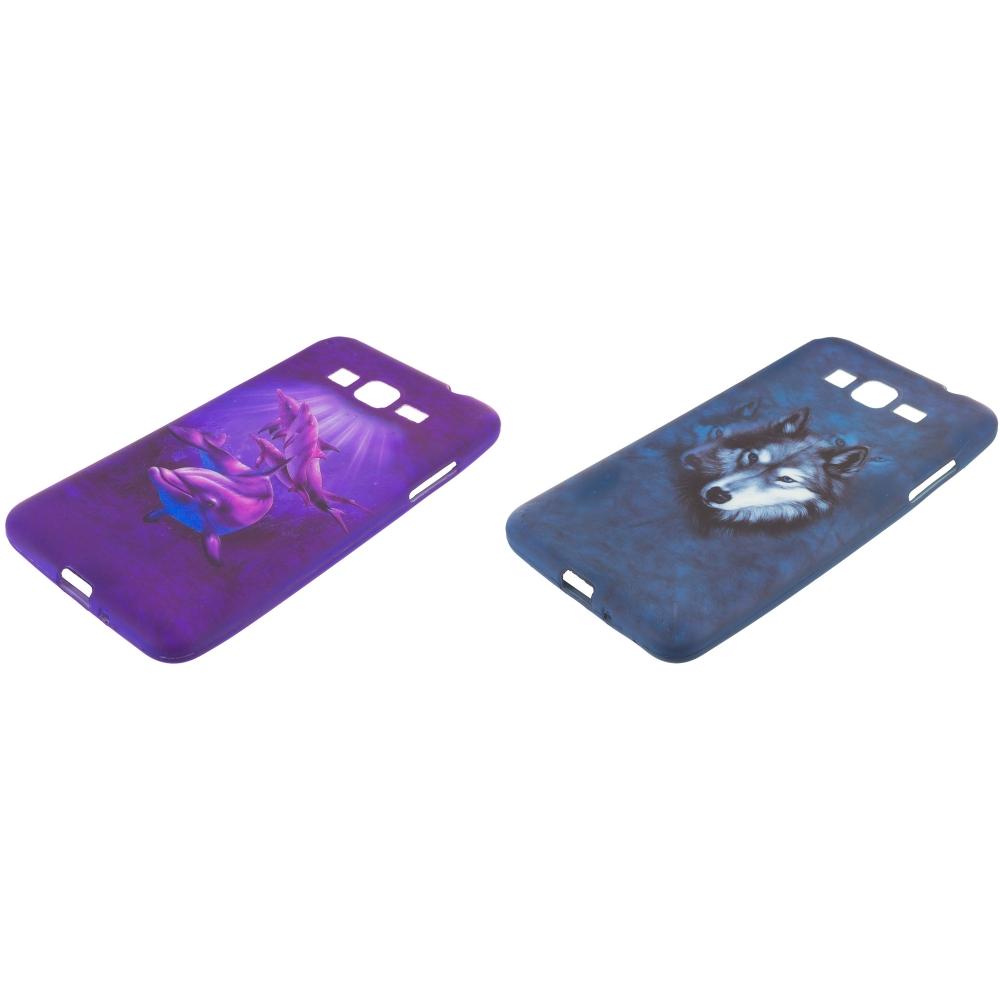 Samsung Galaxy Grand Prime LTE 2 in 1 Combo Bundle Pack - Purple Dolphin Wolf TPU Design Soft Rubber Case