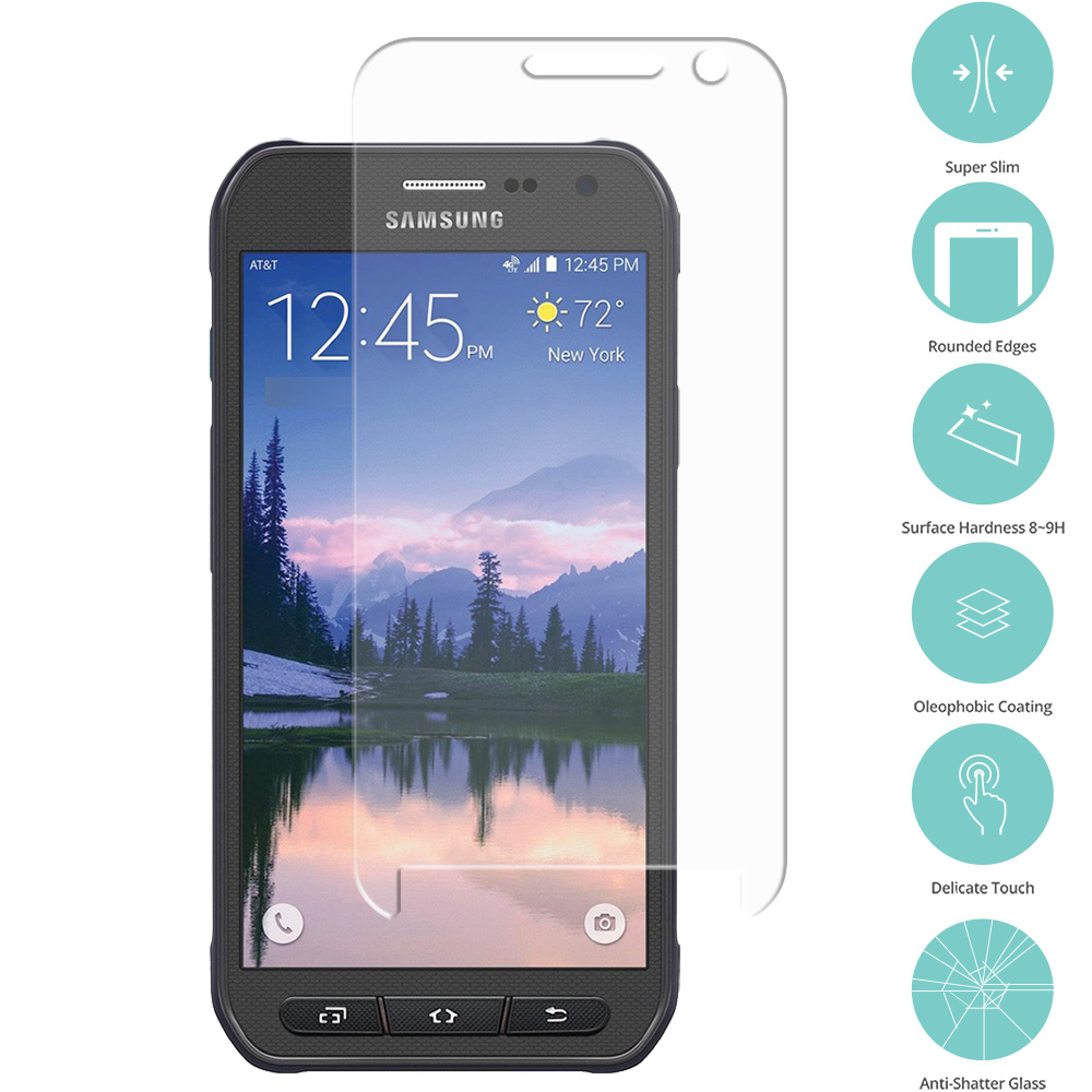 Samsung Galaxy S6 Active Clear Tempered Glass Film Screen Protector Clear