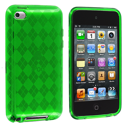Apple iPod Touch 4th Generation Neon Green Checkered TPU Rubber Skin Case Cover