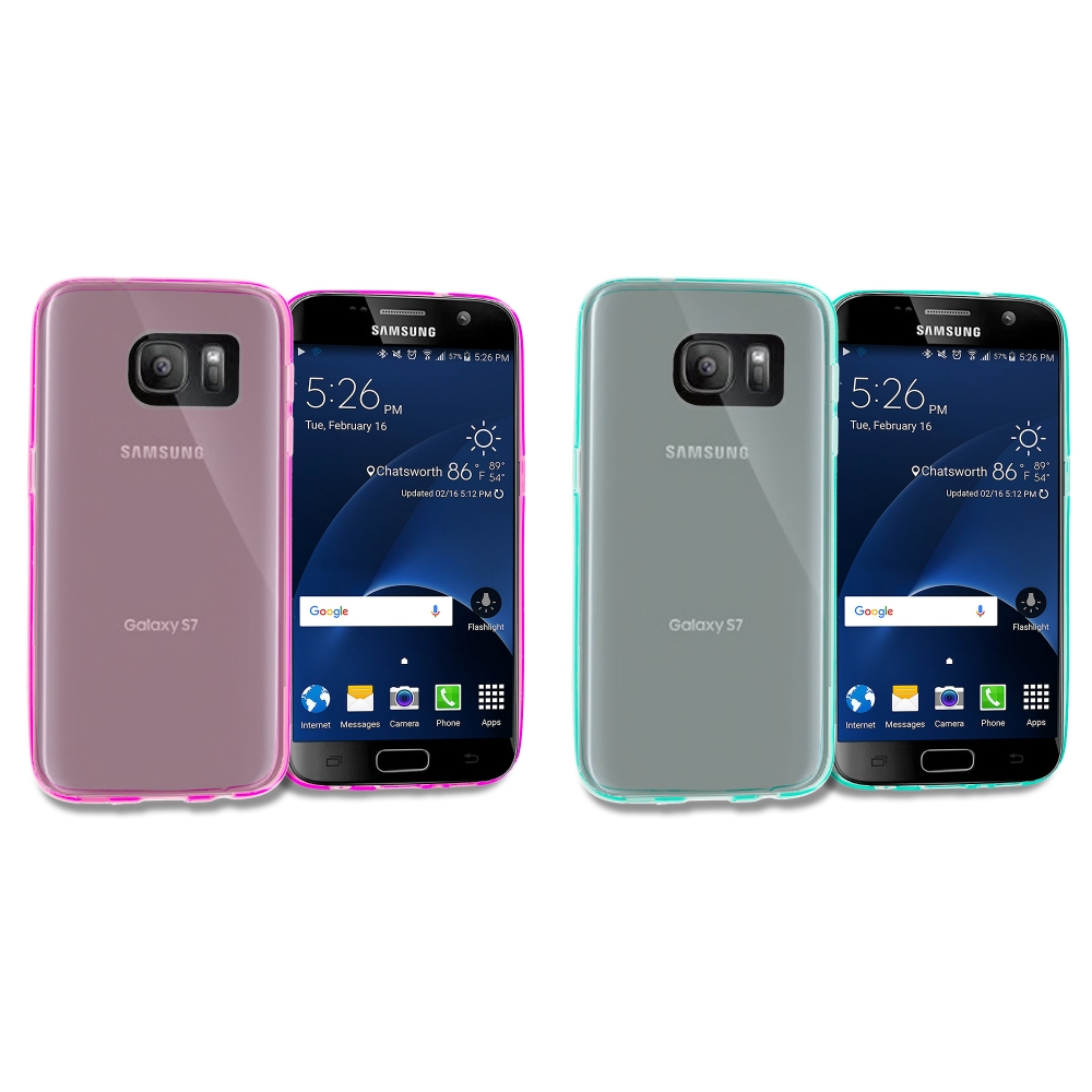Samsung Galaxy S7 Combo Pack : Hot Pink TPU Rubber Skin Case Cover