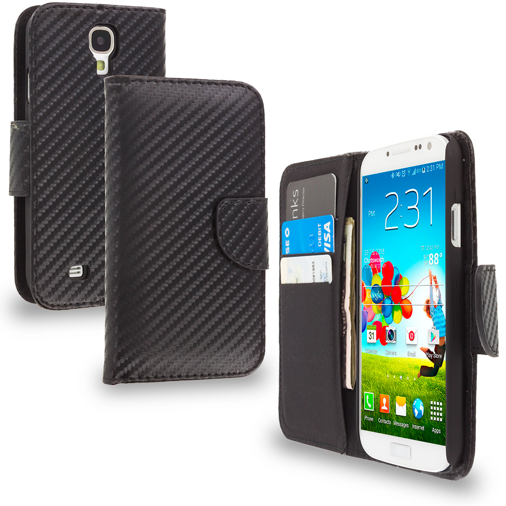 Samsung Galaxy S4 Wallet Carbon Fiber Leather Wallet Pouch Case Cover with Slots