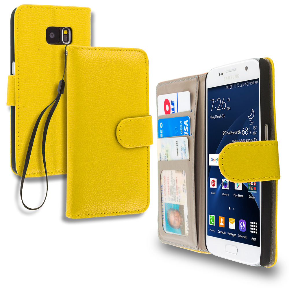 Samsung Galaxy S7 Combo Pack : Red Leather Wallet Pouch Case Cover with Slots : Color Yellow
