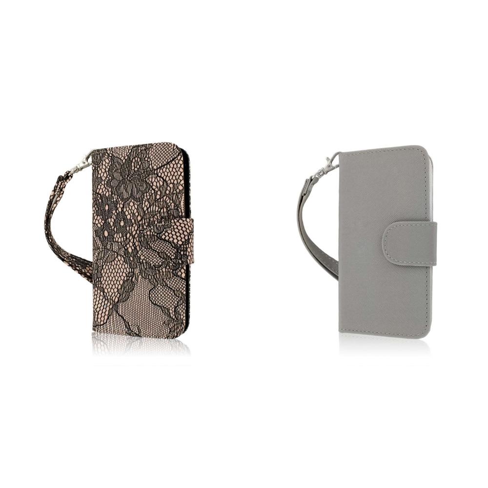 Apple iPhone 5/5S/SE - Black Lace Combo Pack : MPERO FLEX FLIP Wallet Case Cover
