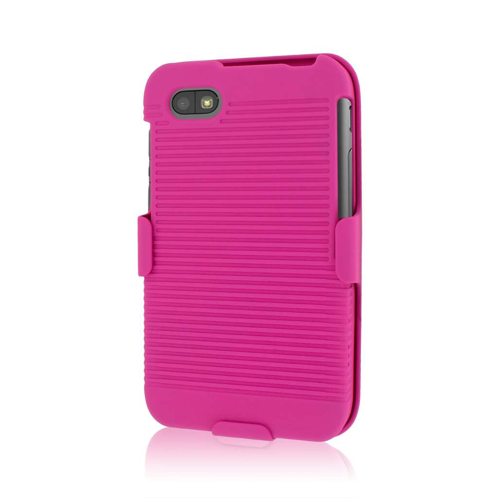 Blackberry Q5 MPERO 3 in 1 Tough HOT PINK Kickstand Case Cover