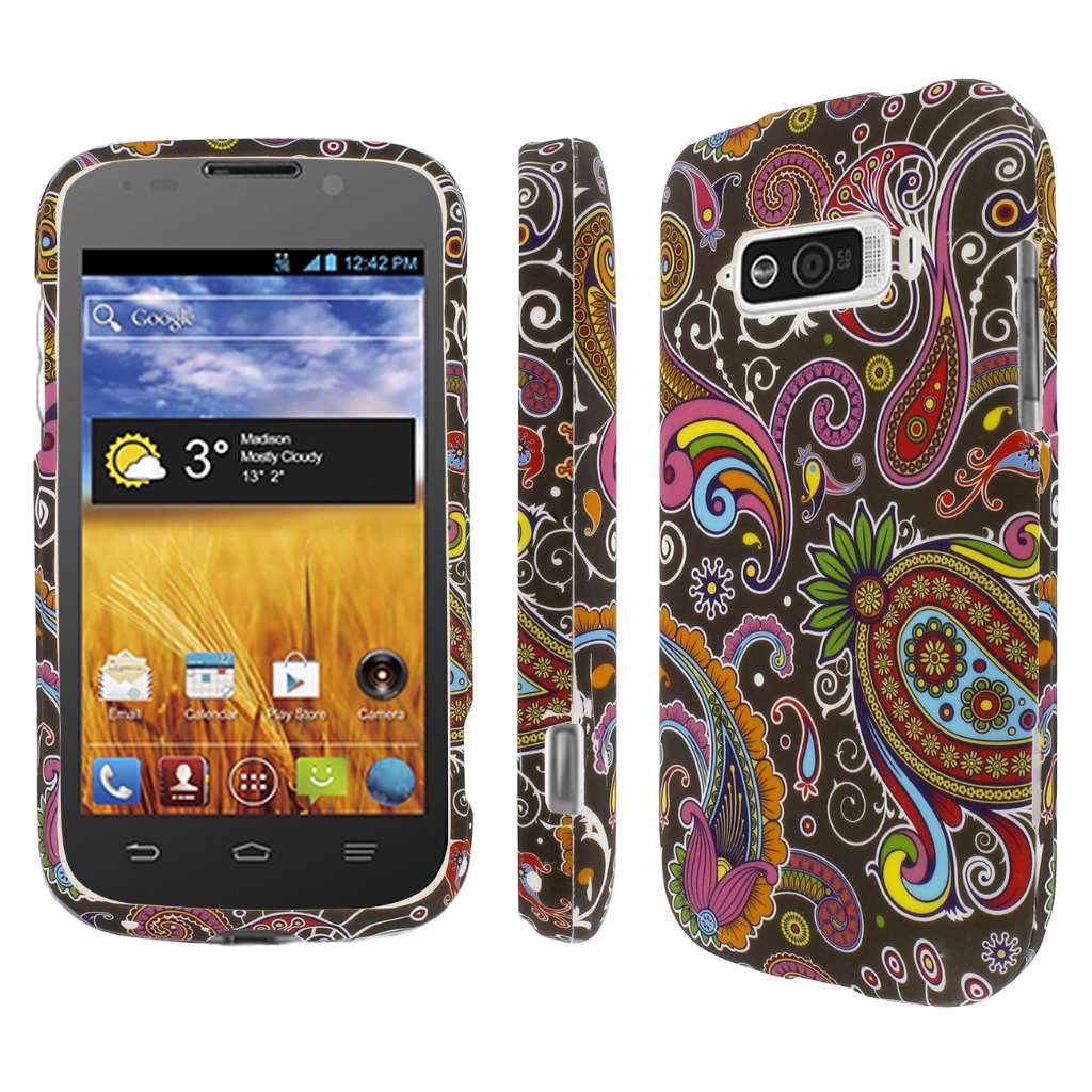 ZTE Imperial - Black Paisley MPERO SNAPZ - Rubberized Case Cover