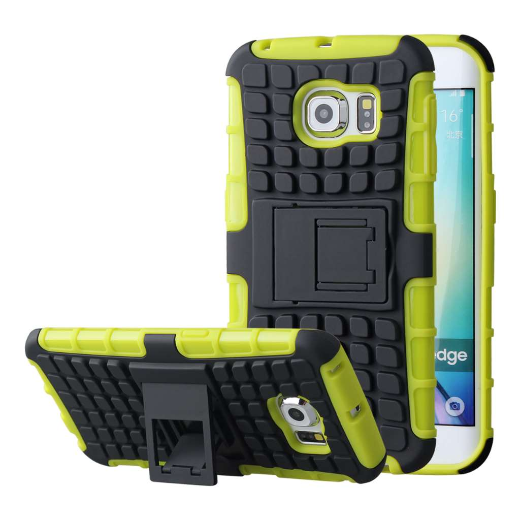 Samsung Galaxy S6 Edge - Neon Green MPERO IMPACT SR - Kickstand Case Cover
