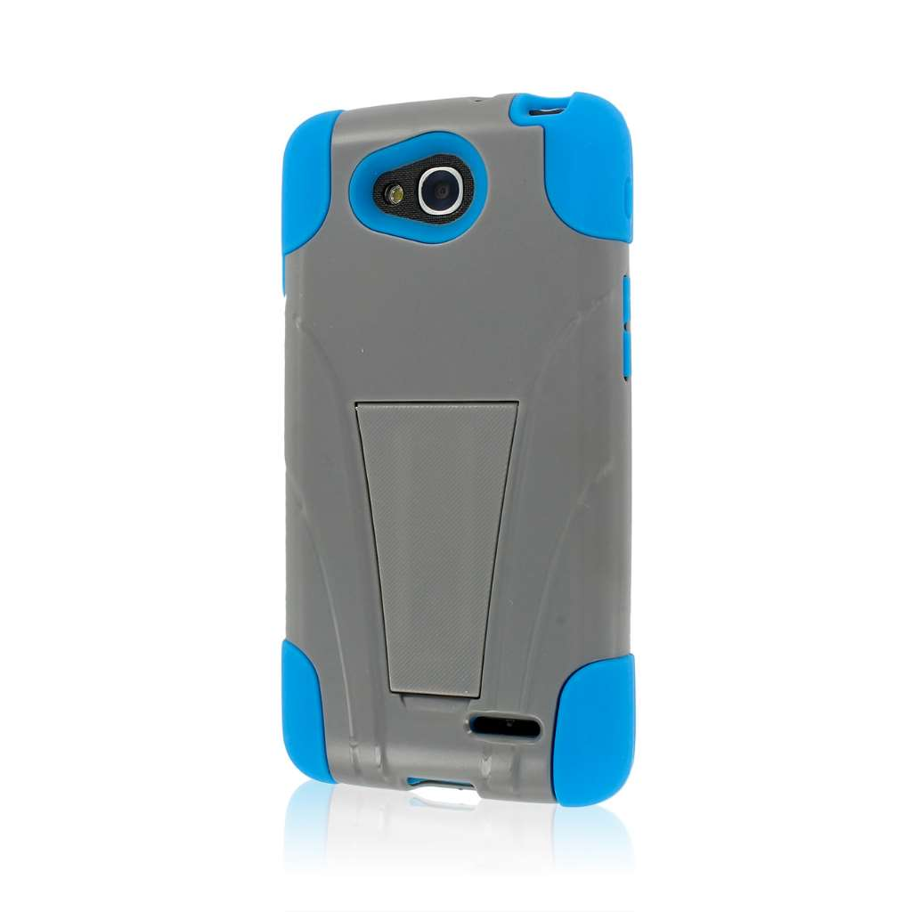 LG Optimus Exceed 2 - Blue Gray/Gray MPERO IMPACT X - Kickstand Case Cover