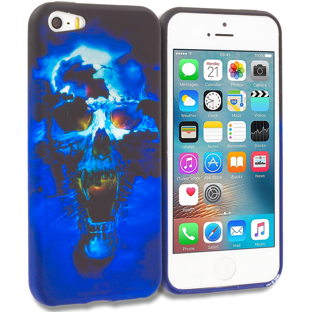 Apple iPhone 5/5S/SE Combo Pack : Black Blue Skull TPU Design Soft Rubber Case Cover : Color Blue Skulls