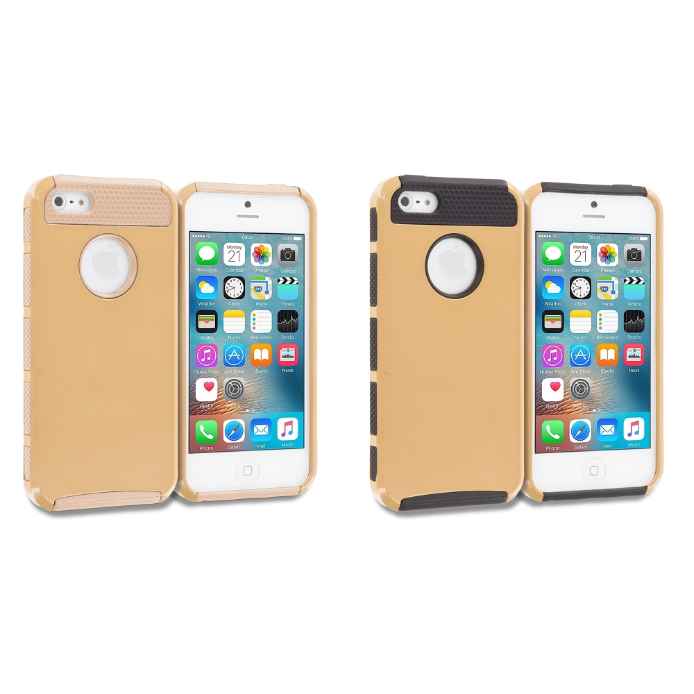 Apple iPhone 5/5S/SE Combo Pack : Gold / Gold Hybrid Hard TPU Honeycomb Rugged Case Cover