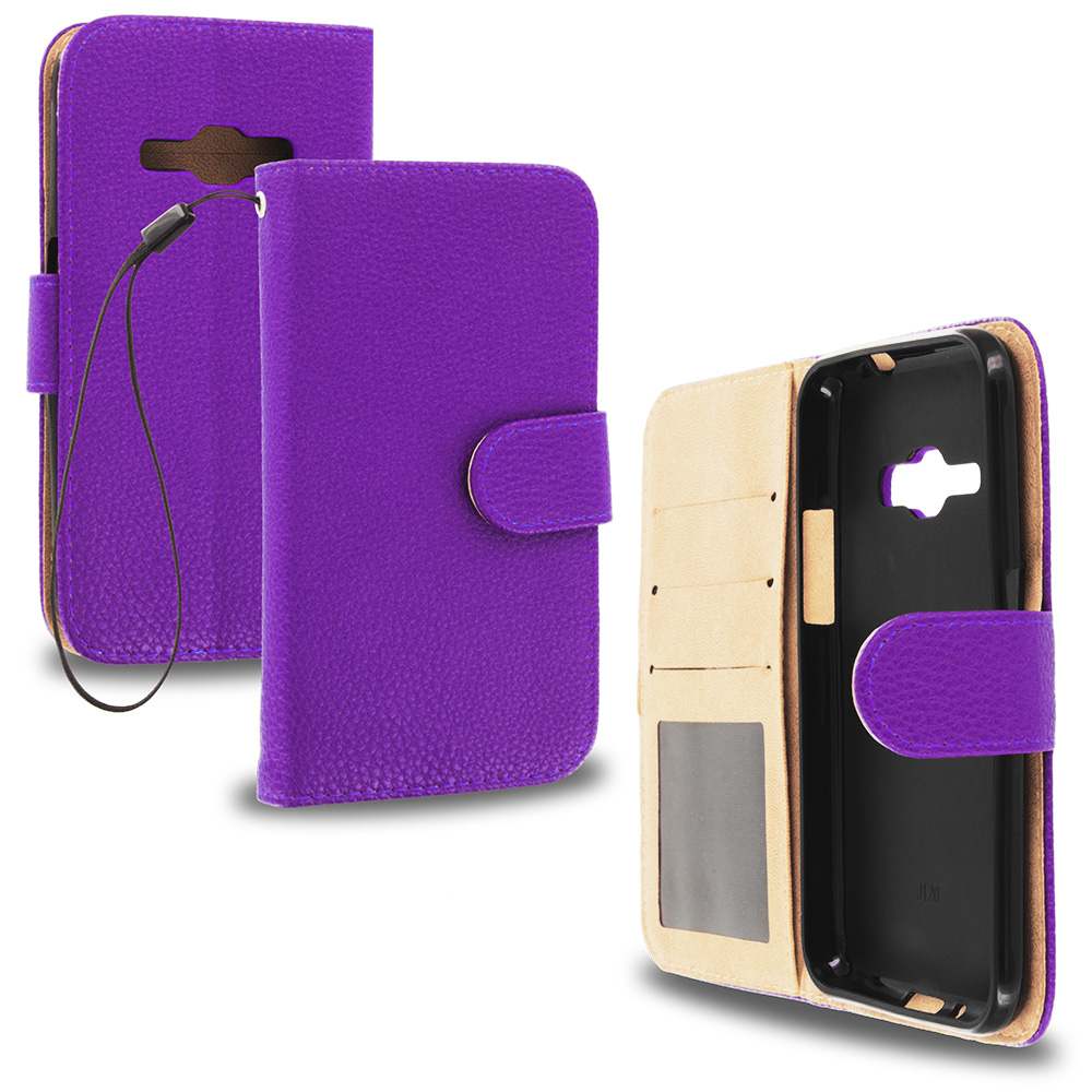 For Samsung Galaxy J1 2016 / Amp 2 / Express 3 / Luna S120 Purple Leather Wallet Pouch Case Cover with Slots