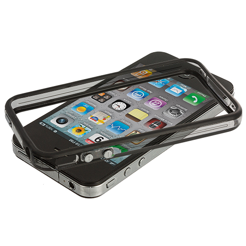 Apple iPhone 4 / 4S Black / Clear TPU Bumper with Metal Buttons