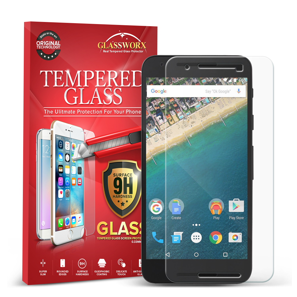 LG Google Nexus 5X GlassWorX HD Clear Tempered Glass Screen Protector