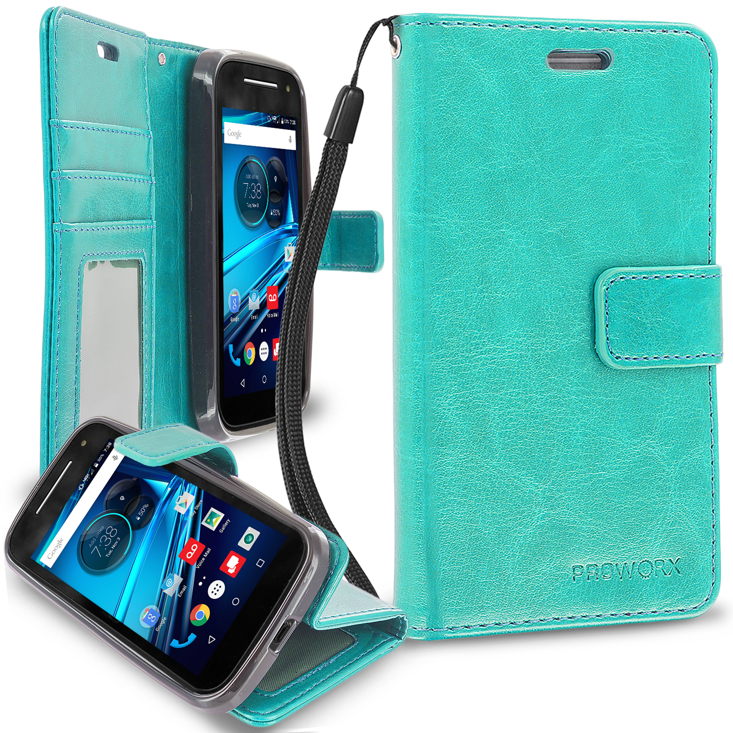 Motorola Moto E LTE 2nd Generation Mint Green ProWorx Wallet Case Luxury PU Leather Case Cover With Card Slots & Stand