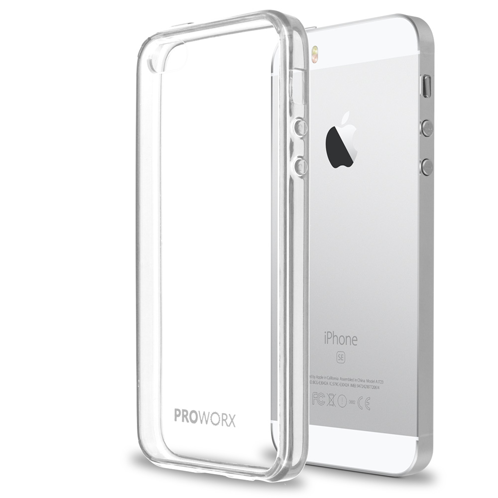 Apple iPhone 5/5S/SE Clear ProWorx Shock Absorption Case Bumper TPU & Anti-Scratch Clear Back Cover