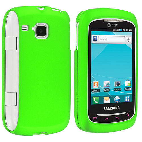 Samsung Doubletime i857 Neon Green Hard Rubberized Case Cover