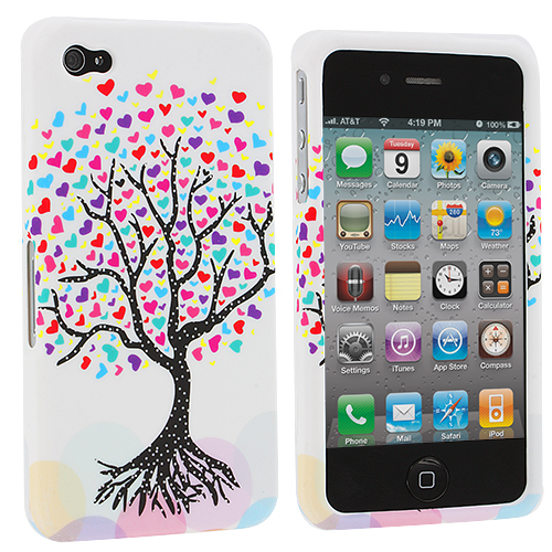Apple iPhone 4 / 4S Love Tree on White Design Crystal Hard Case Cover