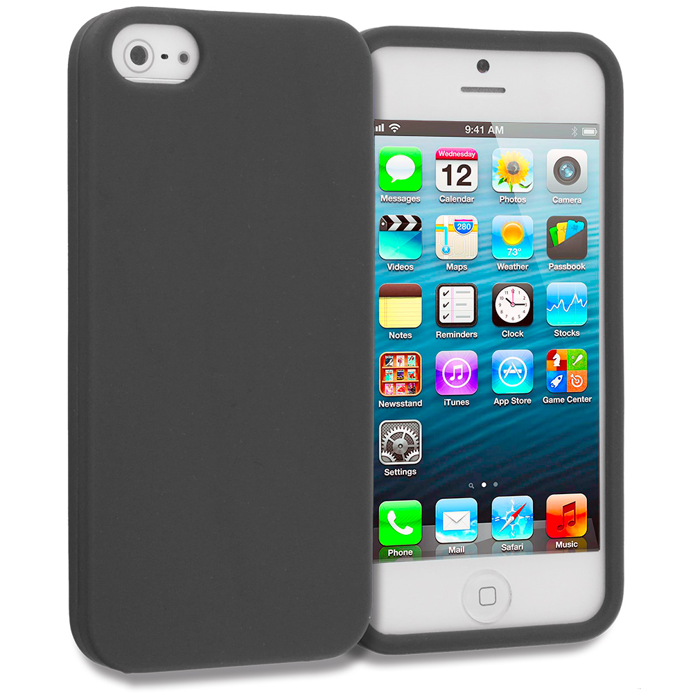 Apple iPhone 5/5S/SE Black Silicone Soft Skin Case Cover