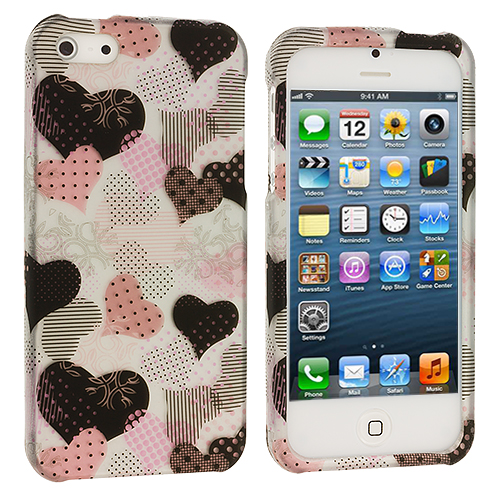 Apple iPhone 5 3 in 1 Combo Bundle Pack - Heart Love Tree Hard Rubberized Design Case Cover : Color Love desert on Sliver