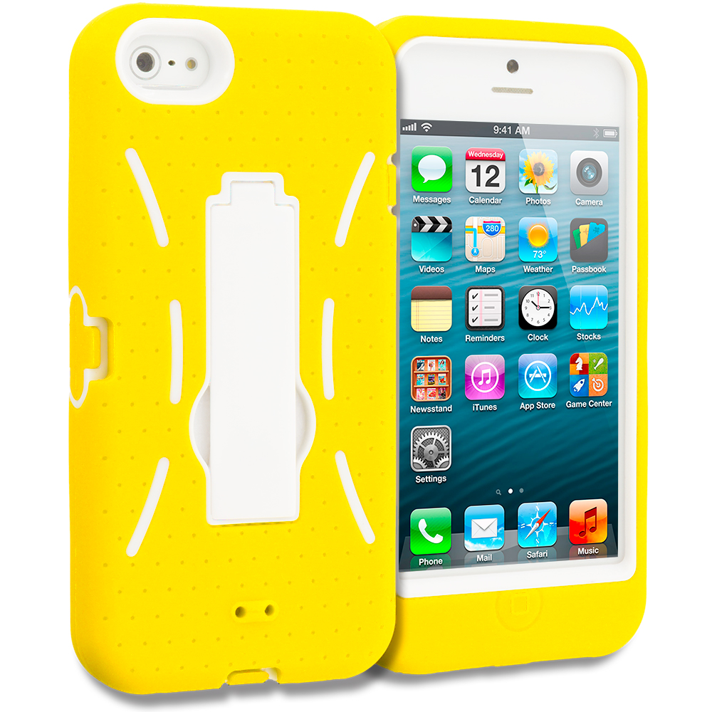 Apple iPhone 5/5S/SE Yellow / White Hybrid Heavy Duty Hard/Soft Case Cover with Stand