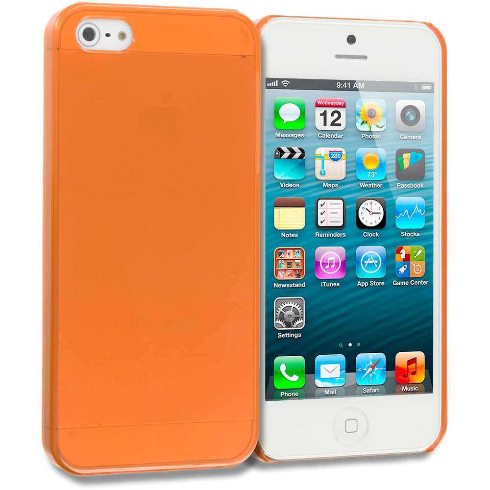 Apple iPhone 5/5S/SE Combo Pack : Hot Pink Crystal Hard Back Cover Case : Color Orange