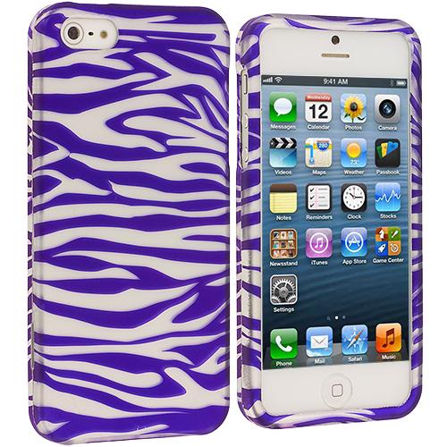Apple iPhone 5/5S/SE Purple / White Zebra Hard Rubberized Design Case Cover