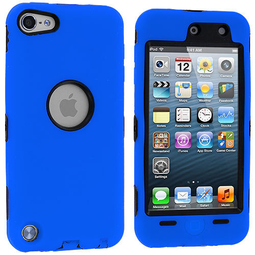 Apple iPod Touch 5th 6th Generation Blue Deluxe Hybrid Deluxe Hard/Soft Case Cover