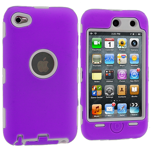 Apple iPod Touch 4th Generation Purple / White Deluxe Hybrid Deluxe Hard/Soft Case Cover