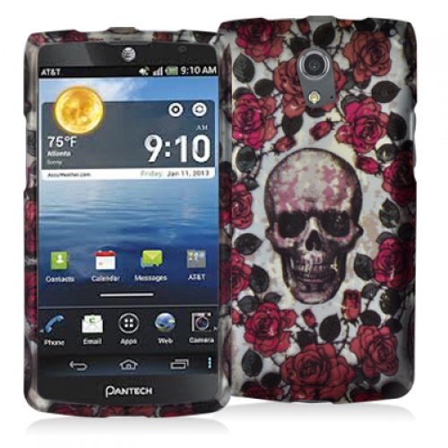 Pantech Discover Gorgeous Skull Hard Rubberized Design Case Cover