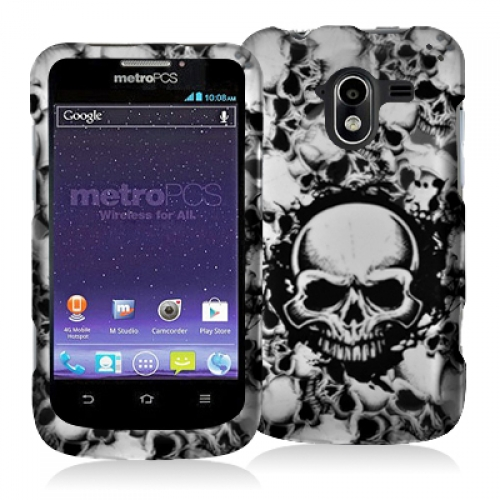 ZTE Avid 4G N9120 Black White Skulls Hard Rubberized Design Case Cover