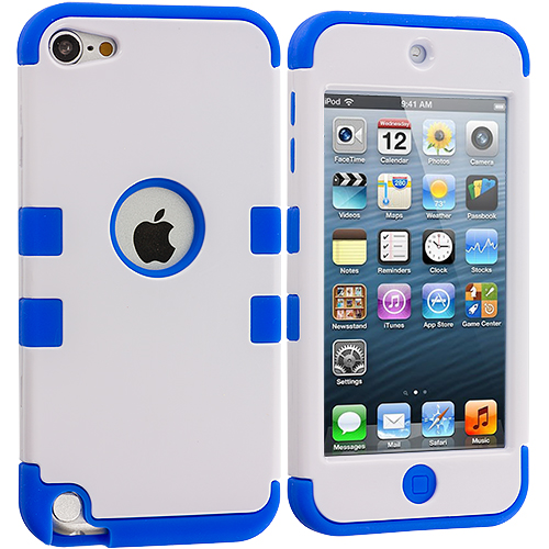Apple iPod Touch 5th 6th Generation Blue / White Hybrid Tuff Hard/Soft 3-Piece Case Cover