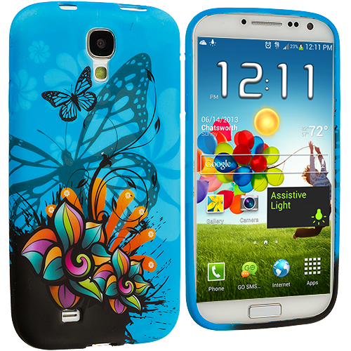Samsung Galaxy S4 Blue Butterfly Flower TPU Design Soft Case Cover
