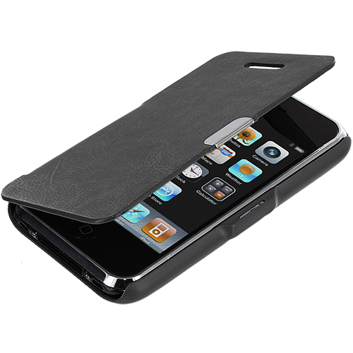 Apple iPhone 3G / 3GS Black Texture Magnetic Wallet Case Cover Pouch