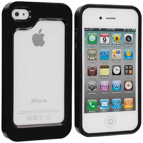 Apple iPhone 4 / 4S 2 in 1 Combo Bundle Pack - Black / Red Hybrid TPU Bumper Case Cover : Color Black / Black