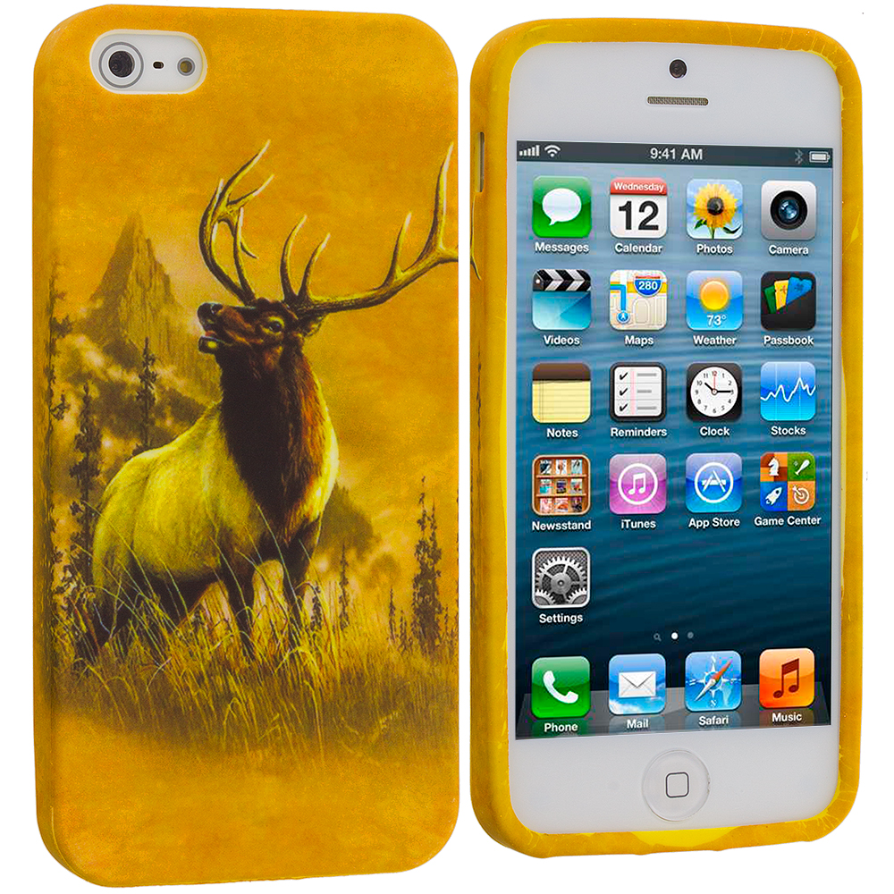 Apple iPhone 5/5S/SE Combo Pack : Deer TPU Design Soft Case Cover : Color Deer