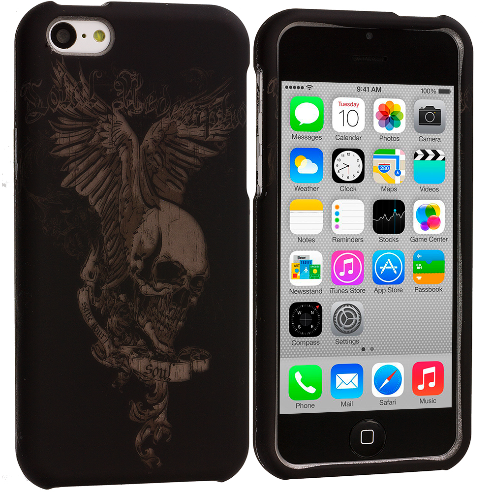 Apple iPhone 5C Skull Print Hard Rubberized Design Case Cover