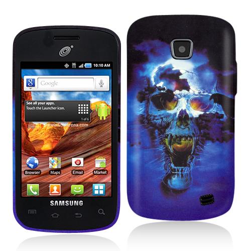 Samsung Proclaim S720C Blue Skulls Hard Rubberized Design Case Cover