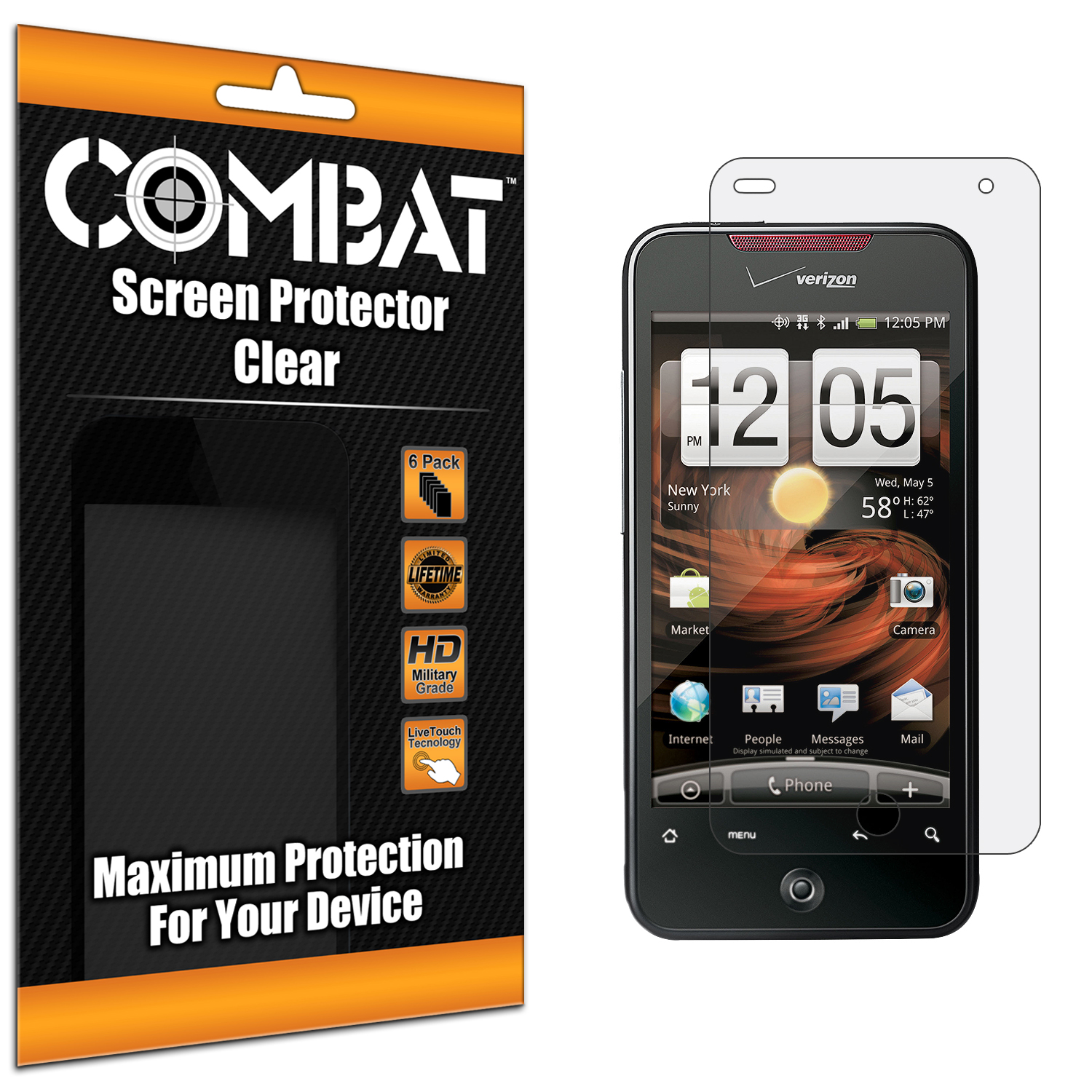 HTC Droid Incredible 6300 Combat 6 Pack HD Clear Screen Protector