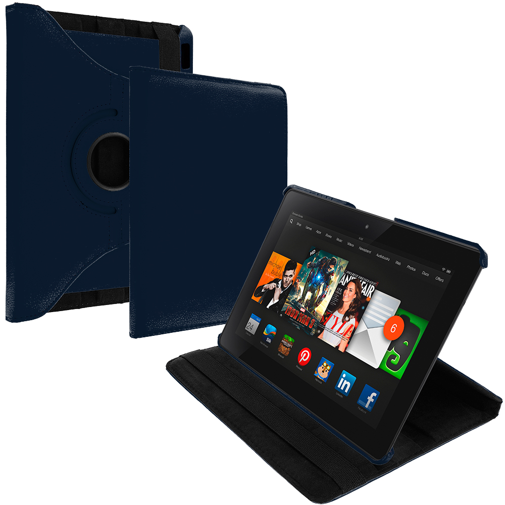 Amazon Kindle Fire HDX 8.9 Navy Blue 360 Rotating Leather Pouch Case Cover Stand