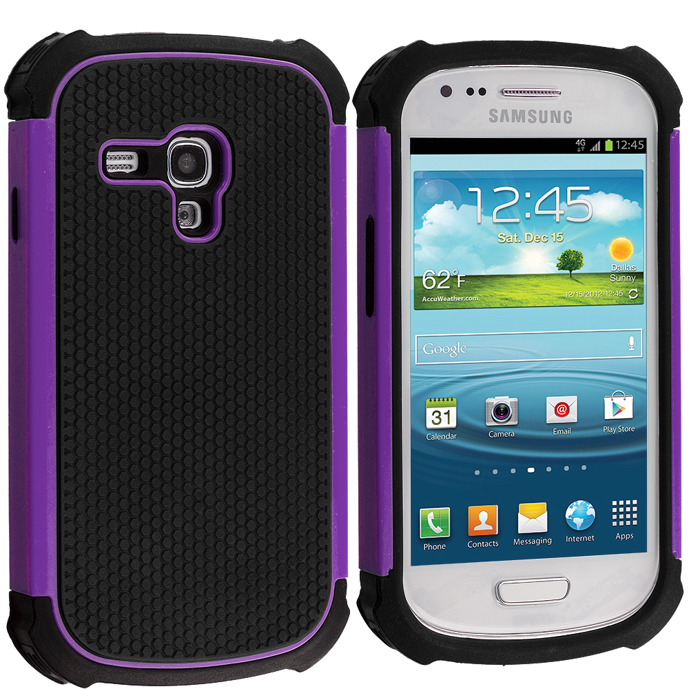 Samsung Galaxy S3 Mini Black / Purple Hybrid Rugged Hard/Soft Case Cover