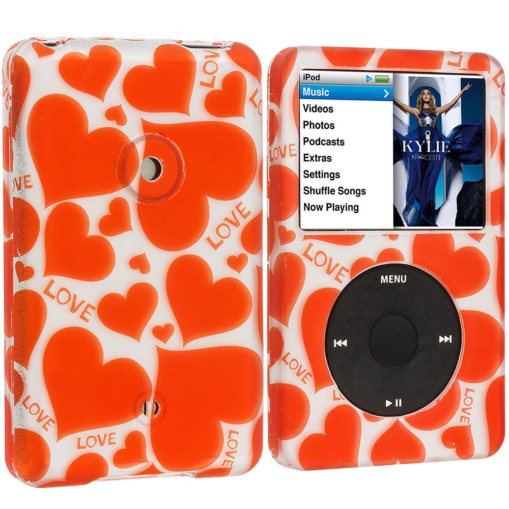 Apple iPod Classic Hearts Love Hard Rubberized Design Case Cover