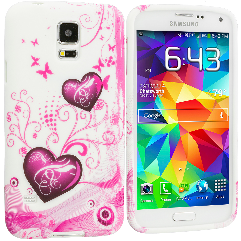 Samsung Galaxy S5 Pink Heart on White TPU Design Soft Case Cover
