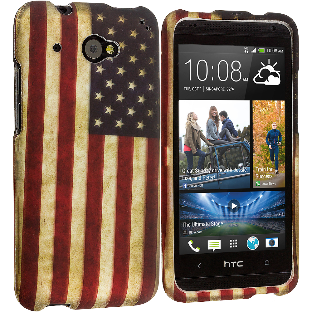 HTC Desire 601 USA Flag 2D Hard Rubberized Design Case Cover
