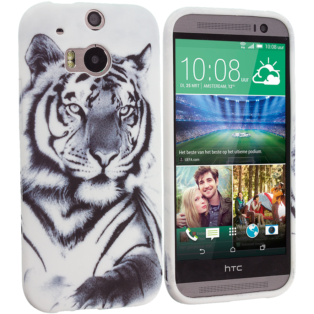 HTC One M8 White Tiger TPU Design Soft Case Cover