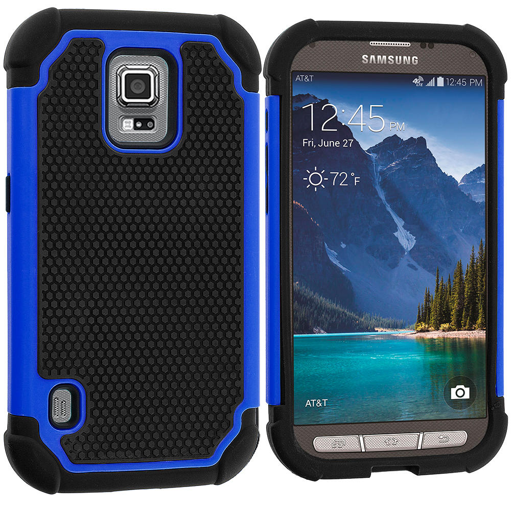 Samsung Galaxy S5 Active Black / Blue Hybrid Rugged Hard/Soft Case Cover