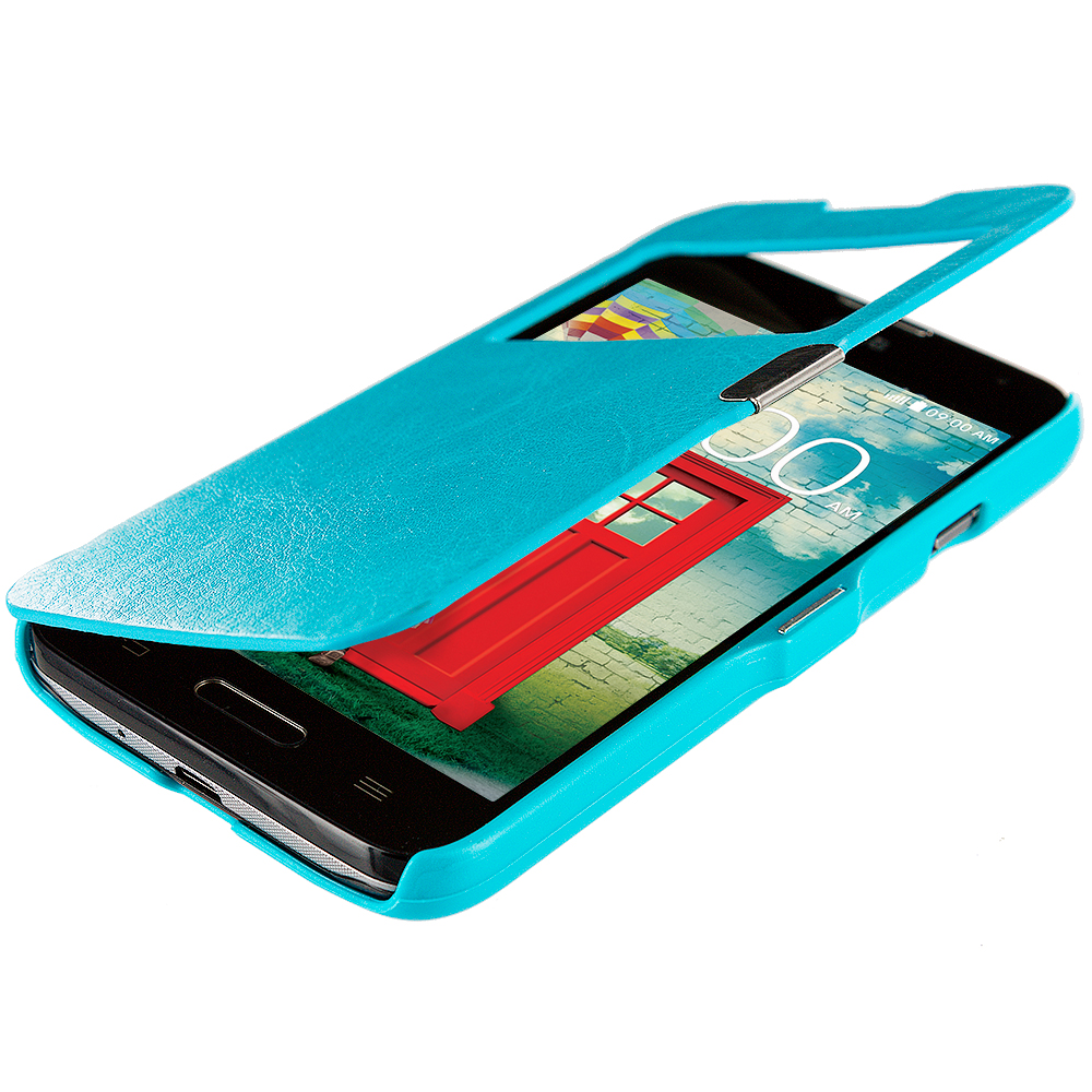 LG Optimus L90 Baby Blue (Open) Magnetic Wallet Case Cover Pouch