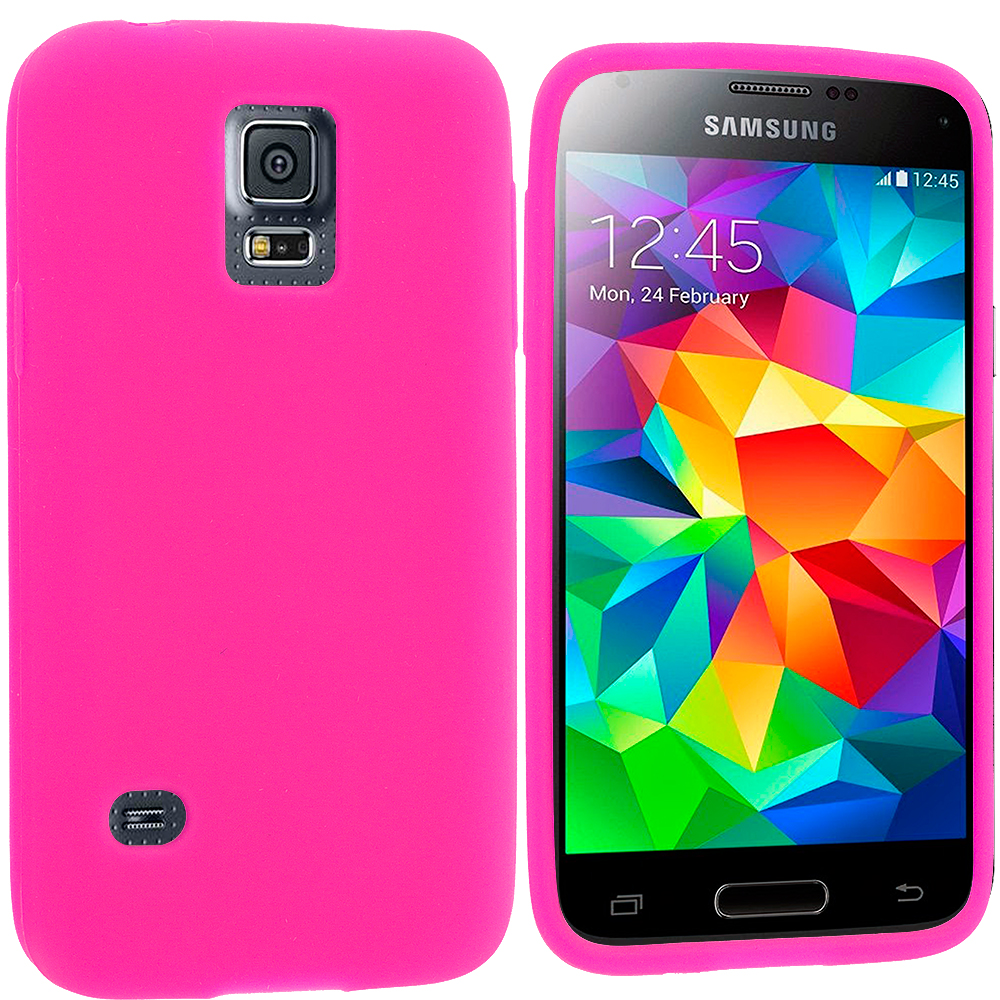Samsung Galaxy S5 Mini G800 Hot Pink Silicone Soft Skin Rubber Case Cover