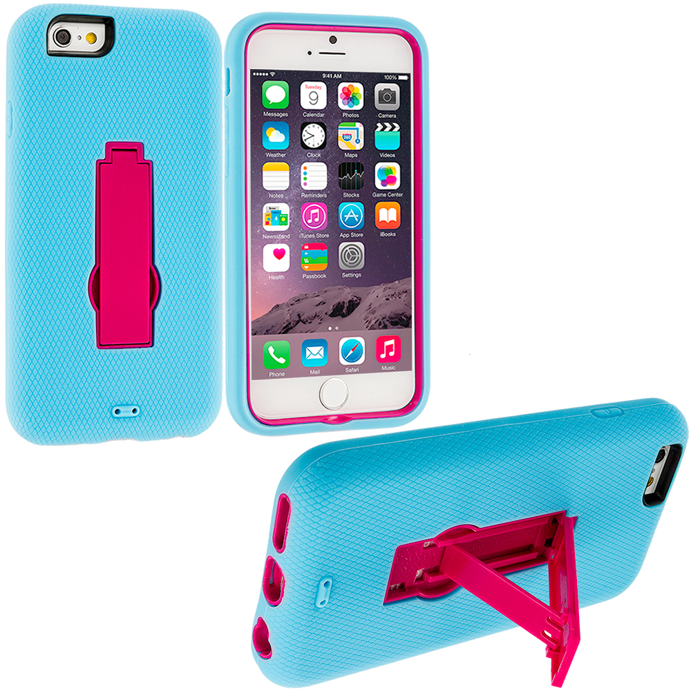 Apple iPhone 6 Plus 6S Plus (5.5) Baby Blue / Hot Pink Hybrid Heavy Duty Hard Soft Case Cover with Kickstand