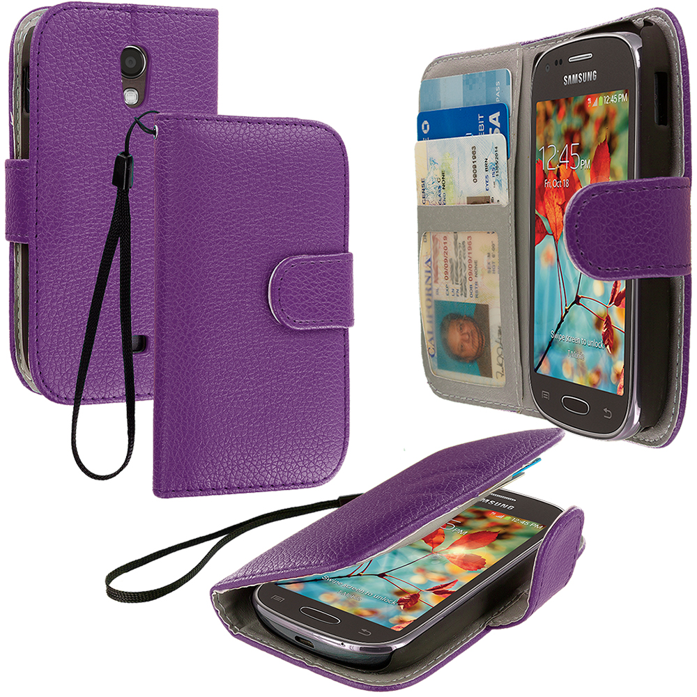 Samsung Galaxy Light T399 Purple Leather Wallet Pouch Case Cover with Slots