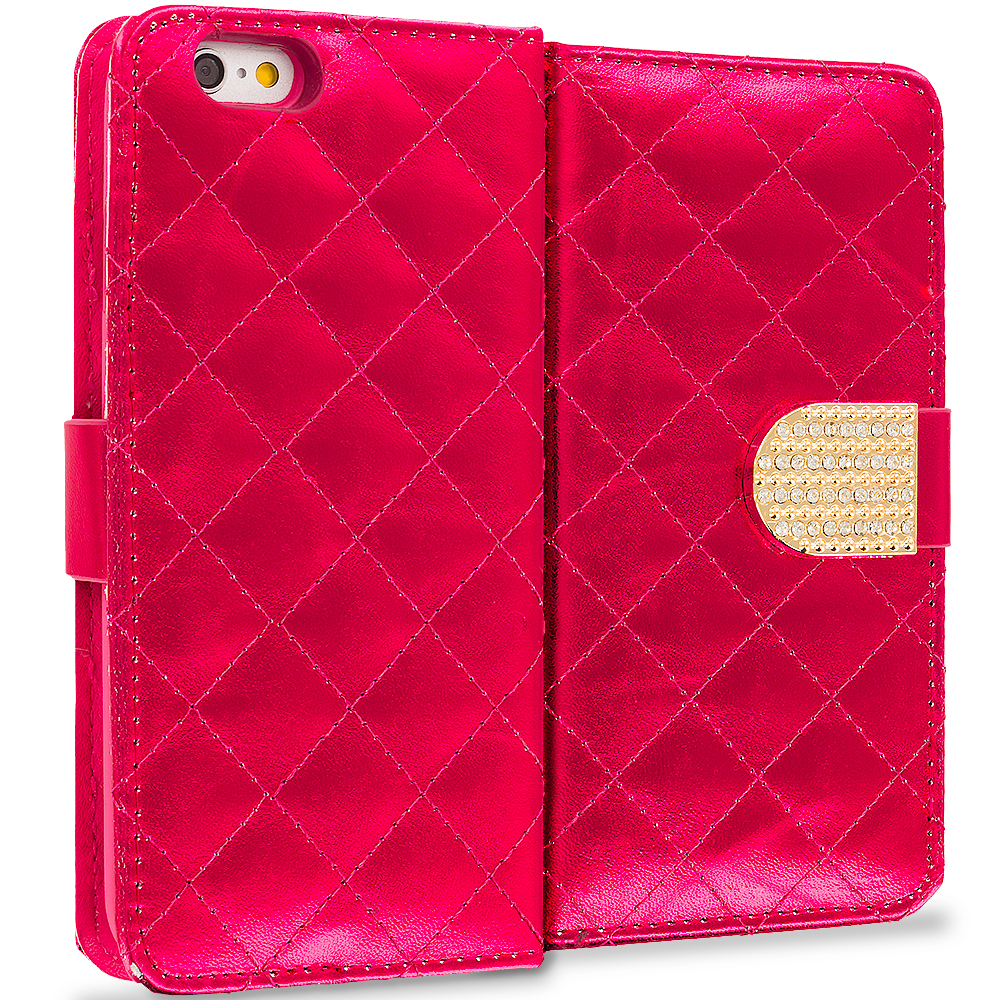 Apple iPhone 6 Plus 6S Plus (5.5) 5 in 1 Combo Bundle Pack - Luxury Wallet Diamond Design Case Cover With Slots : Color Red